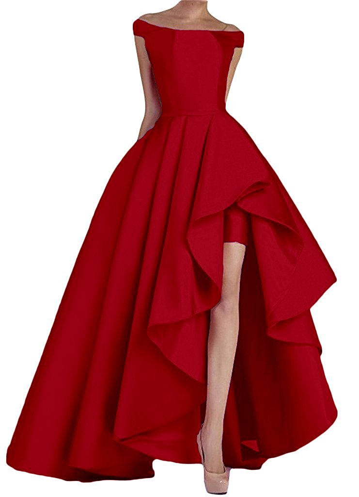 2018 New Arrival Off Shoulder vestidos de fiesta High Low Long Evening Prom Dresses High Low Formal Gowns