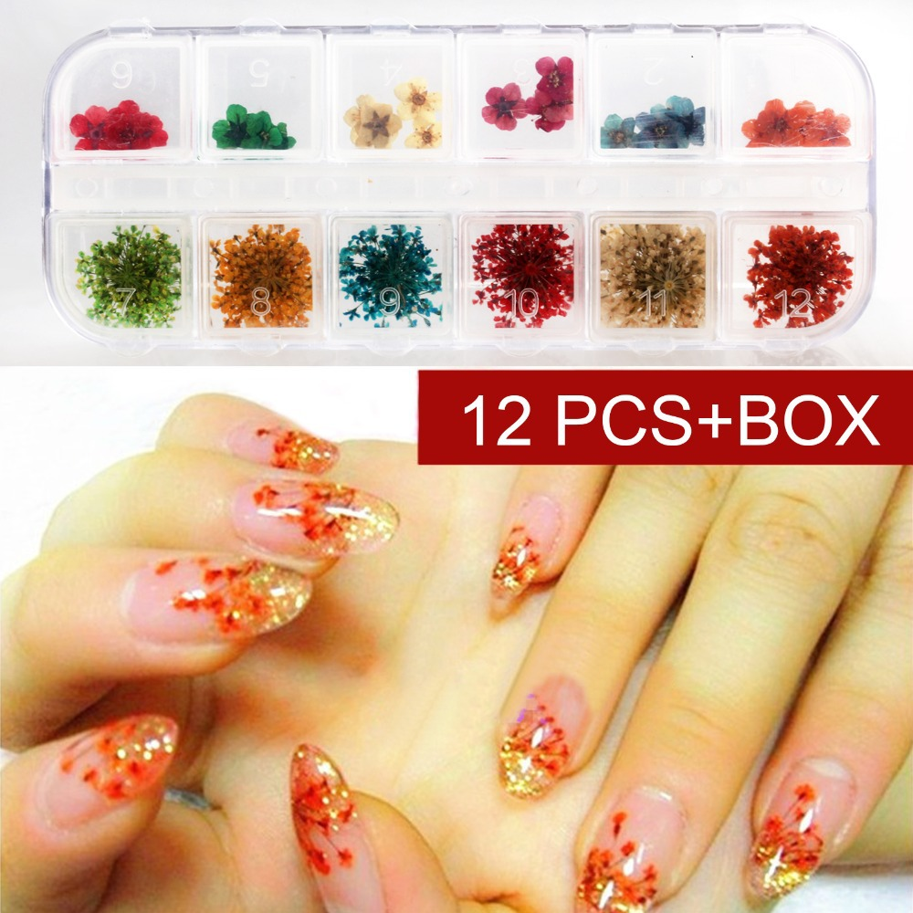 12 Color Set Nail Art Decoration Dried Flowers Slices Decal With Case French Acrylic