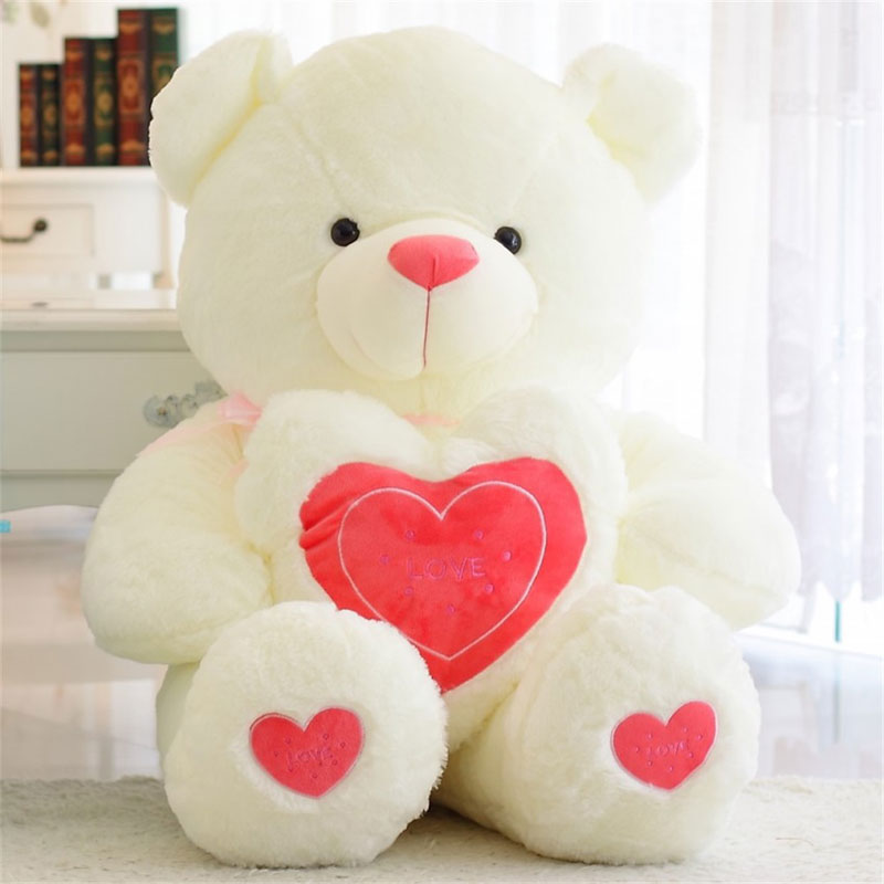 YunNasi 100cm Plush Teddy Bear With Love Heart PP Cotton Pillow Stuffed Animal Toys For Girls Fluffy Bear Soft Toys Kids Dolls