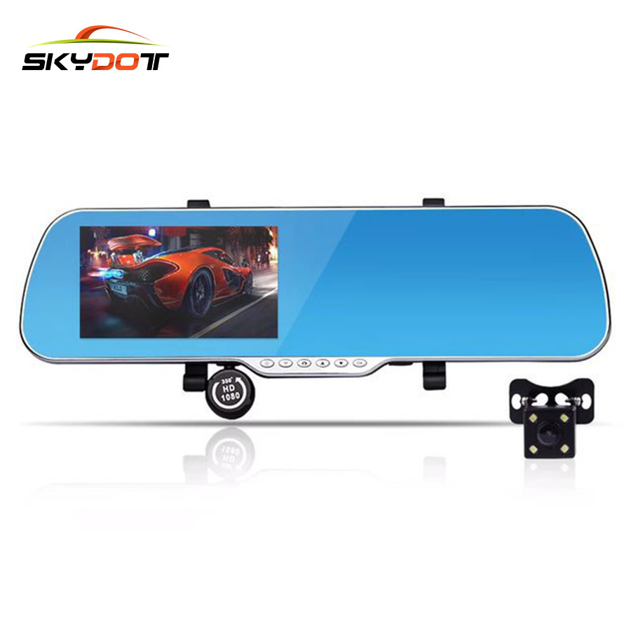 SKydot 5 Inch Android Touch Car DVR Wifi Dash Cam GPS Navigation Rearview Mirror Camera Dual Lens Full HD 1080P Video Recorder 5 inch car camera dvr dual lens rearview mirror video recorder fhd 1080p automobile dvr mirror dash cam