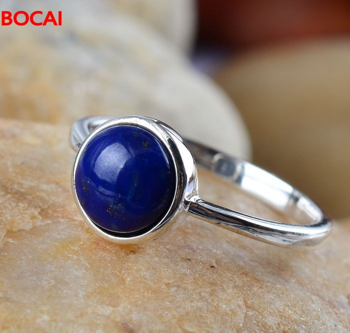 925 Sterling Silver Jewelry Vintage Silver Lapis Lazuli Small Douding Lady New Ring   87#