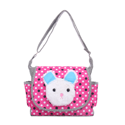 2017 Primary school bag girls messenger bag big white rabbit shoulder bag cute cross-body canvas bag