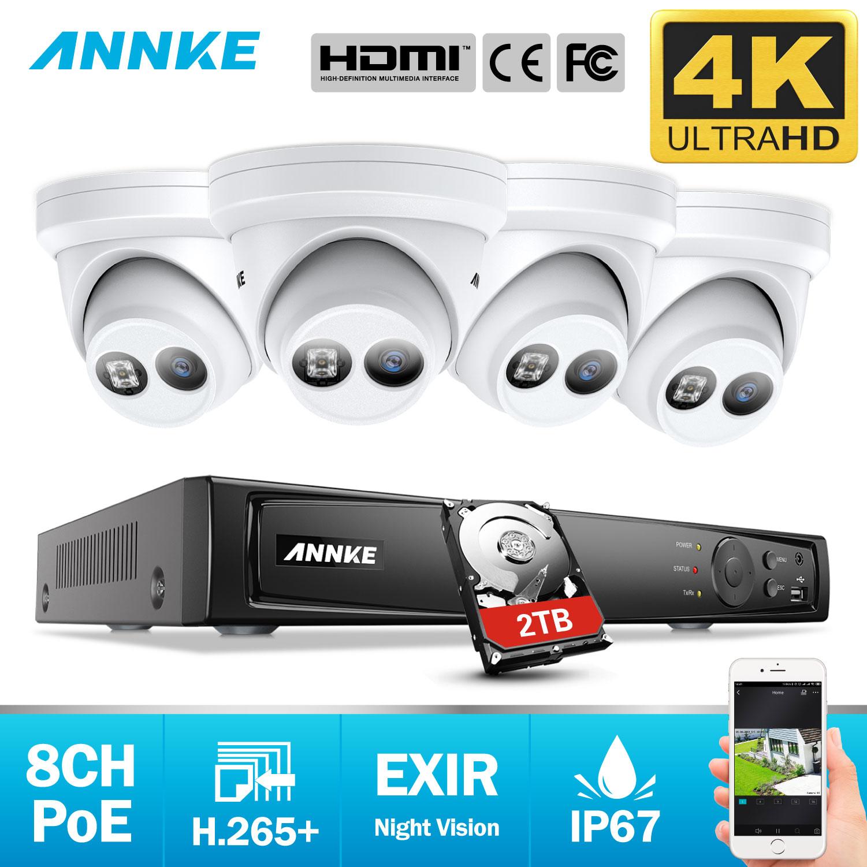 ANÃO 8CH 4K Ultra HD Sistema De Segurança De Vídeo de Rede POE 8MP H.265 + NVR Com 4pcs 8MP À Prova de Intempéries kit de Segurança Câmera de CFTV IP
