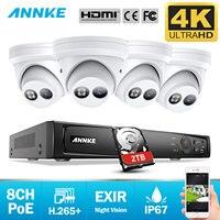 ANNKE 8CH 4K Ultra HD POE, сетевые системы безопасности Видео 8MP H.265 + NVR с 4 шт. 8MP защищенная от внешних воздействий ip-камера комплект камер видеонаблюде...