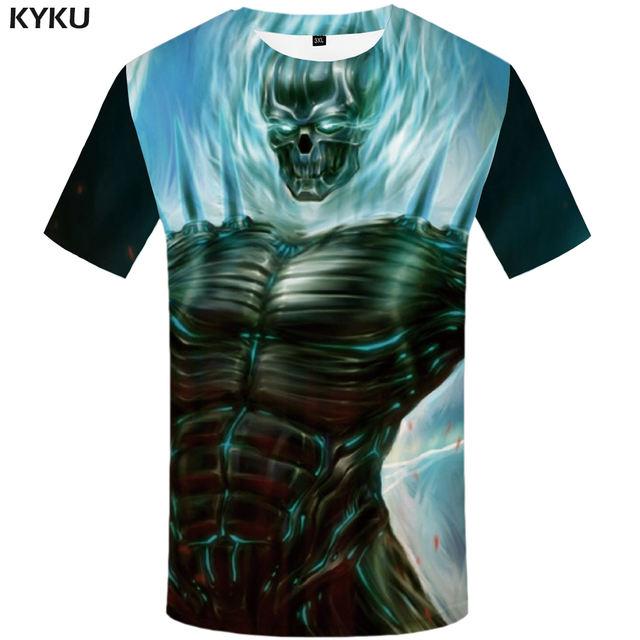KYKU Skull Tshirt Men Black Blood T-shirt Anime Clothes Punk Rock War Print T Shirt 3d Hip Hop Mens Clothing Summer Streetwear