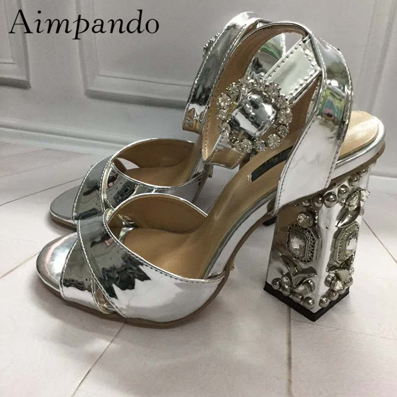 Retro Diamond Chunky Heel Sandalias Mujer Gold Silver Patent Leather Cross Belt Ankle Strap Rhinestone Summer