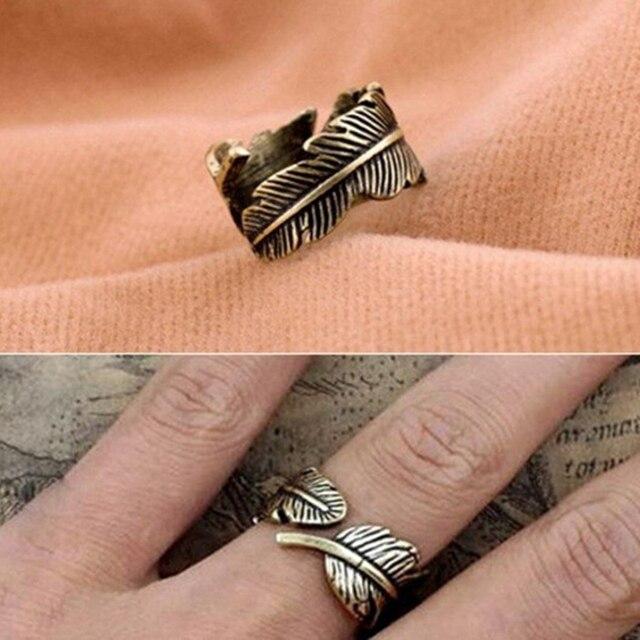 NJ109 Homens Antigo da Cor do Ouro Do Vintage Deixa Anéis Aberto Para Mulheres Anéis Ajustáveis de Alta Qualidade Declaração Jóias Presente Atacado