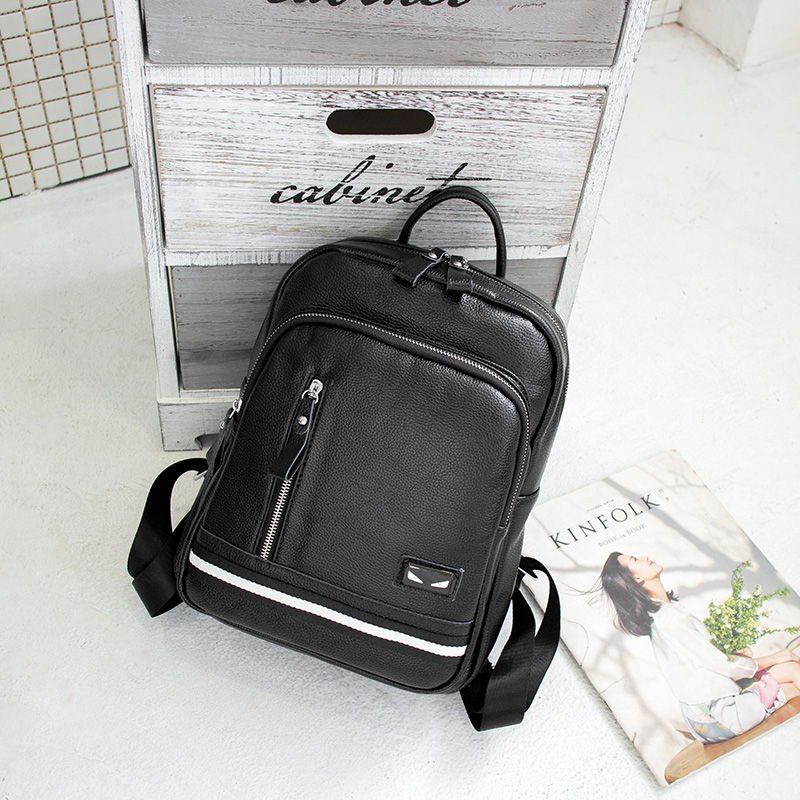 Genuine Leather Backpack Women Fashion School Bag Women College Travel Bag for Teenagers School Bags Mochila Sac A Dos Black QF fashion women backpack genuine leather backpack women travel bag college preppy school bag for teenagers girls mochila femininas