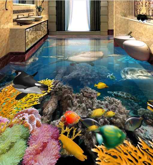 customize 3d flooring Underwater world shark photo wallpapers 3d floor tiles Bedroom living room bathroom pool wallpaper floor