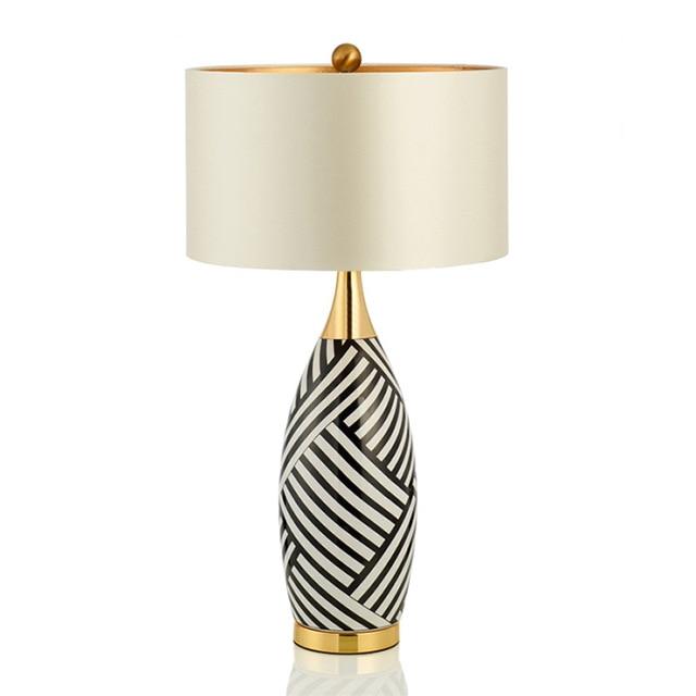 TUDA 40X78cm Free Shipping Large Table Lamp Modern Minimalist Zebra Pattern  Ceramic Table Lamp For Living