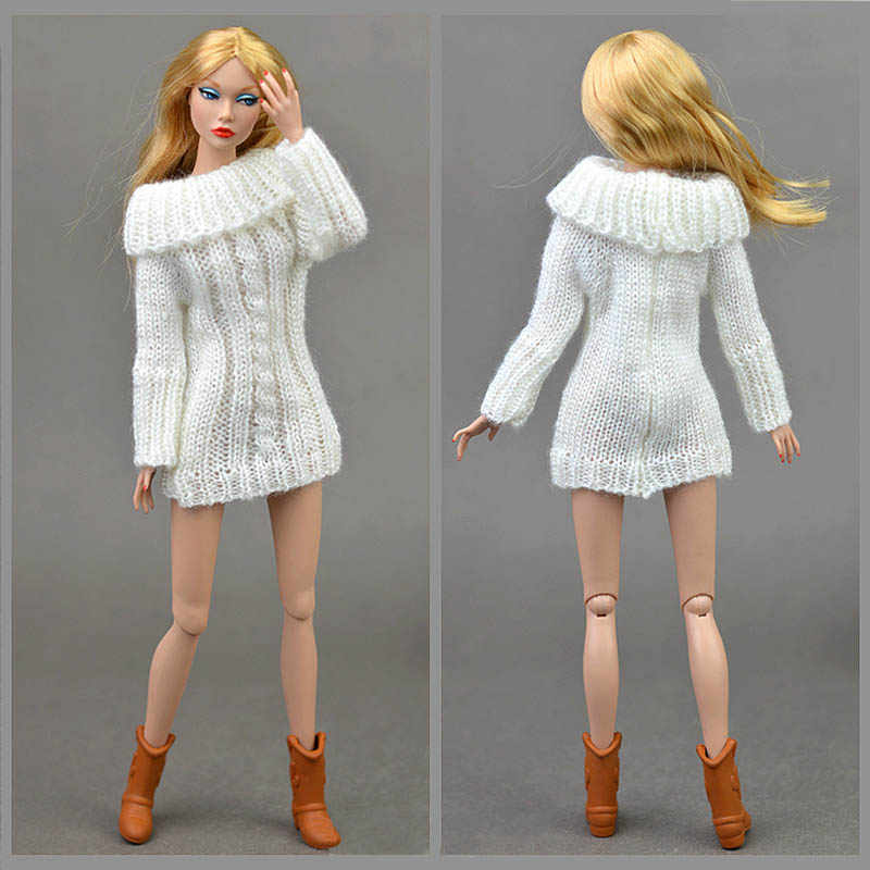36538b7819 ... Pure Manual Doll Accessories Knitted Handmade Sweater For Barbie Doll  Tops Coat Dress Clothes For Blythe ...