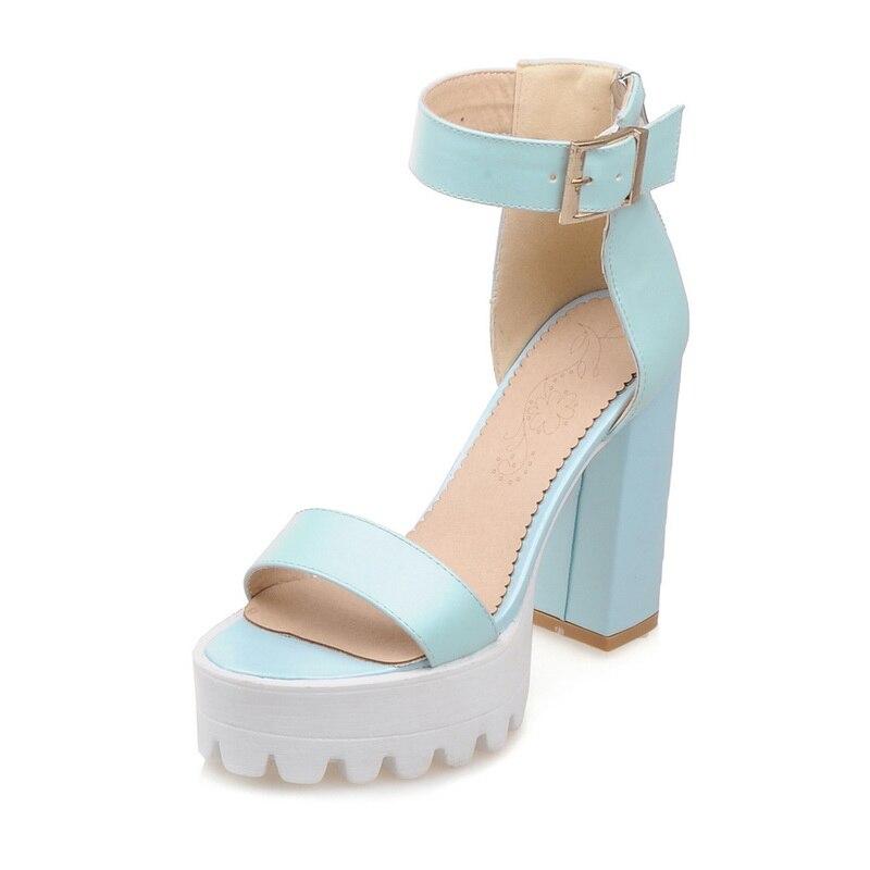 Big size 34-43 new Women Sandals Vintage Design Ankle Straps Open Toe Summer Shoes Thick High Heels Platform Sandals