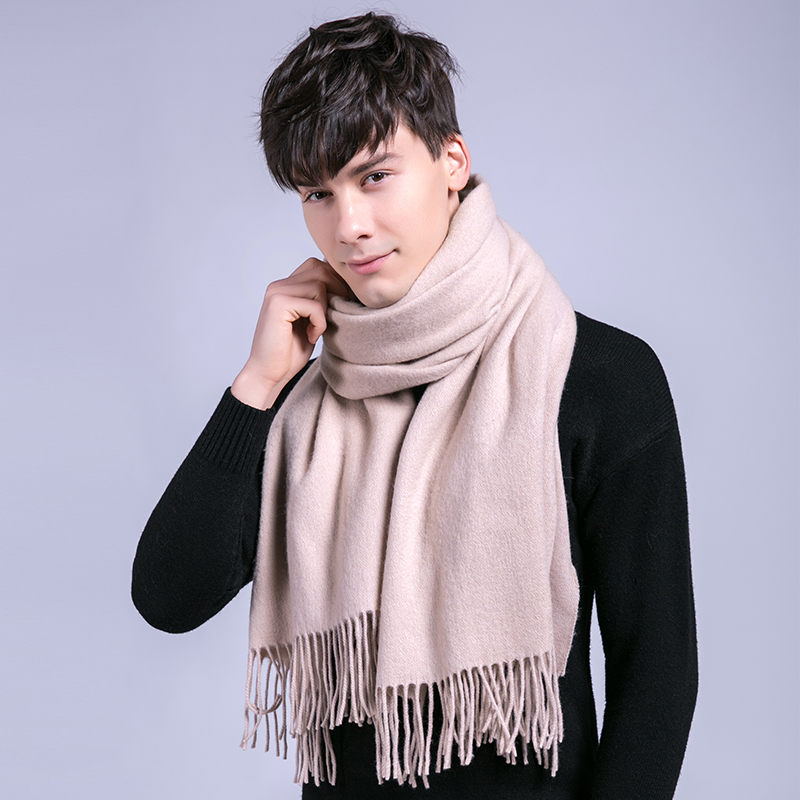 Man's Winter Wool Scarf Luxury Brand 2021 Thicken Solid Warm Shawls and Wraps for Men Pashmina Muffler 100% Pure Wool Scarves