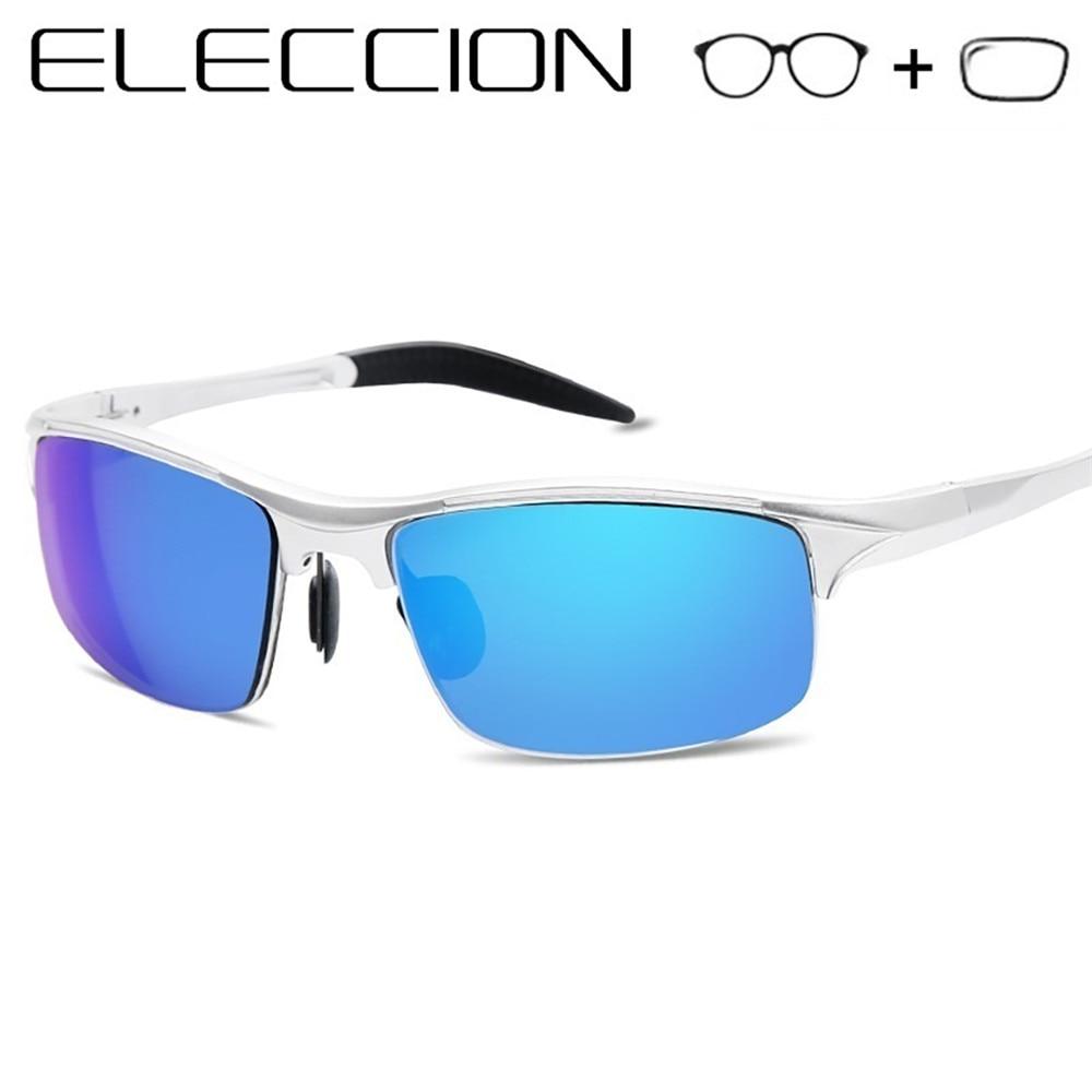 ELECCION Prescription Polarized Sunglasses Men Optical Frames Myopia Sun glasses with Degrees Lenses Half frame Outdoor
