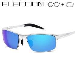 ELECCION Rezept Polarisierte Sonnenbrille Männer Optische Rahmen Myopie sonnenbrille mit Grad Linsen Halb rahmen Außen glas