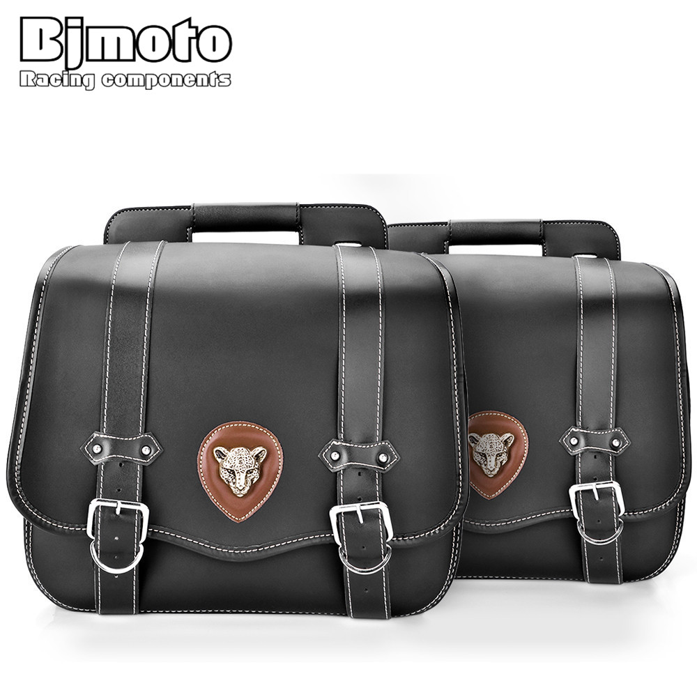 BJMOTO Vintage Motorcycle PU Leather Saddle Bags Tool Pouch Side Bag Universal For Harley Honda Yamaha Luggage Bag Drop Shipping areyourshop windshield bag saddle 3 pouch pocket fairing for harley touring bike 1996 2015 black motorcycle covers