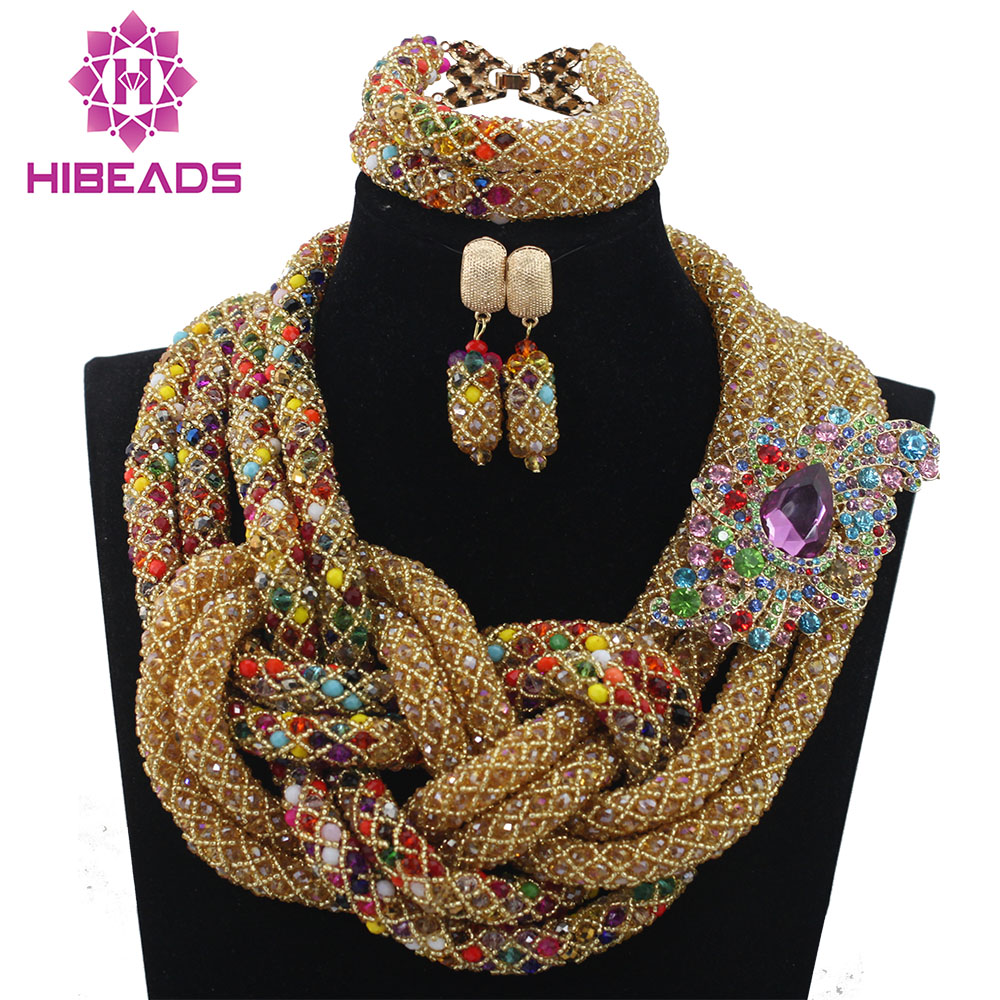 Luxury New Design Nigerian Beads Bridal Necklace Jewelry Set African Wedding Crystal Jewelry Set Champagne Free ShippingABL987