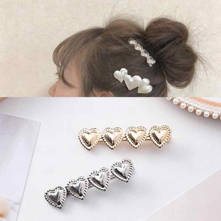 MENGJIQIAO 2018 New Women Hair Jewelry Love Heart Shape Hair Clip Hairpin Barrette Girls Simple Fashion Hair Accessories Gifts