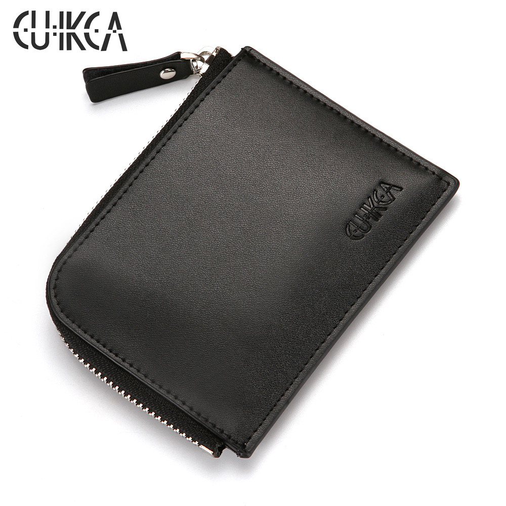 CUIKCA Unisex Women Men Zipper Wallet Semicircular Style Female Slim Leather Wallet Coin Purse ID Credit Card Holders Cases