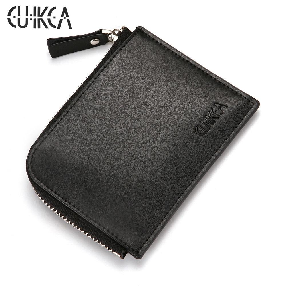 CUIKCA Unisex Women Men Zipper Wallet Semicircular Style Female Slim Leather Wallet Coin Purse ID Credit Card Holders Cases