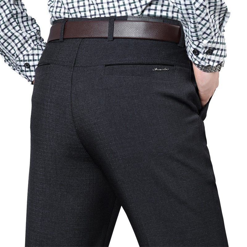 Autumn And Winter Thicken Middle Aged Men's Casual Pants Loose High Waist Mens Dress Trousers Straight Men Suit Pants