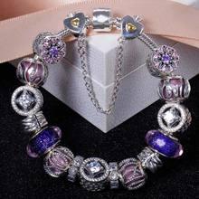 925 Sterling Silver Bracelet Openwork Allure Nature Radiance Christmas Bracelet Bangle For Women Bead Charm Diy Jewelry HKA9004