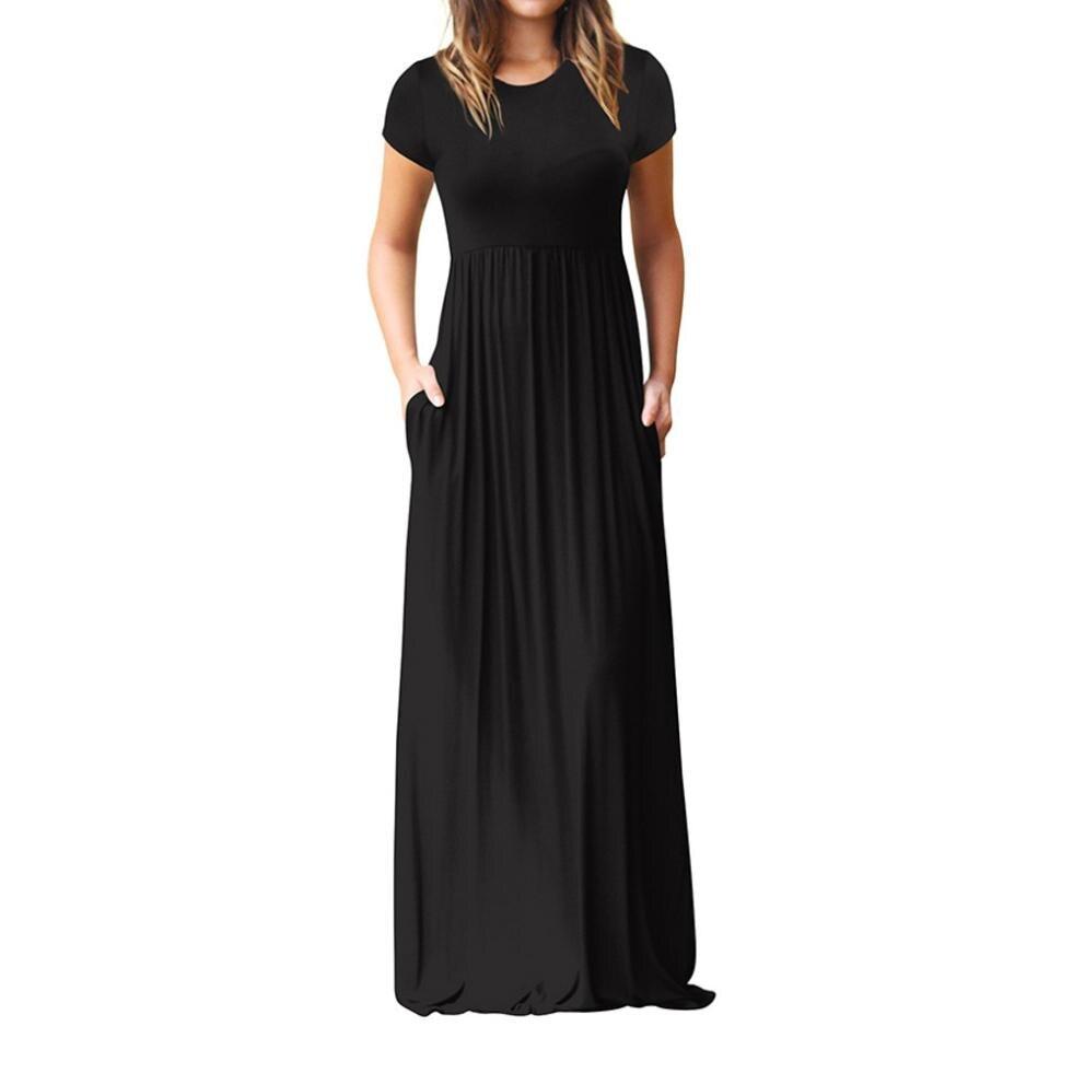 Heißer Verkauf Bodenlangen Kleid Frauen O Neck Casual Taschen Kurzarm Lose Party Kleid Vestido Longo De Festa