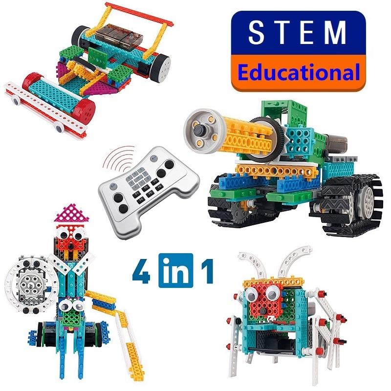 4 en 1 Robot à monter soi-même blocs 237 pièces RC réservoir Robot bloc de construction modèle créatif Science apprentissage jouets éducatifs Kit vapeur enfants cadeau