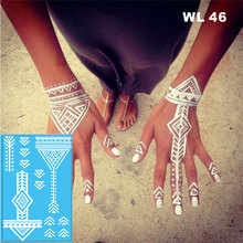 #WL-46 Tribal White Henna Temporary Tattoo Hand Decoration Sticker For Wedding Body Decor