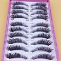 Exagerada Grosso Falso Cílios 1 Caixa 10 Pairs Falso Maquiagem Cílios Postiços Cílios Naturalmente Curto Parágrafo Cruz Olho Fino