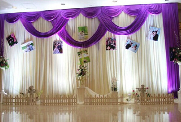 3mx6m backdrop wedding stage curtain background marriage for Background curtain decoration