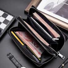 BISON DENIM Men Wallet With Coin Pocket Long Wallet Double Zipper Business Genuine Leather Clutch Bag Cowskin Purse Men N8008-2