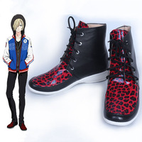 Anime Yuri On Ice Plisetsky Yuri Shoes Carnival Cosplay Costume Halloween Shoes Leopard Print Lace Up