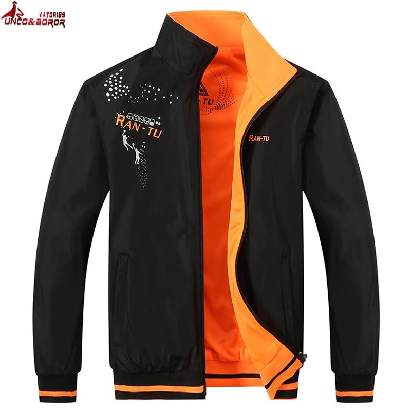 UNCO&BOROR autumn winter Men Jacket Sportswear Bomber Jacket Double-sided Wear Men WindBreaker jackets and Coats Plus Size L-5XL double collar designed jacket earthy size l