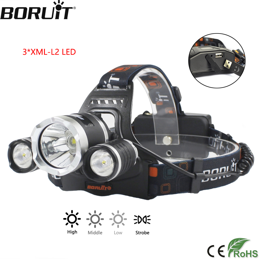 BORUiT RJ-5000 3000LM XM-L2 LED Headlight 4-Mode Headlight Power Bank Head Torch Camping Hunting Flashlight by 18650 Battery