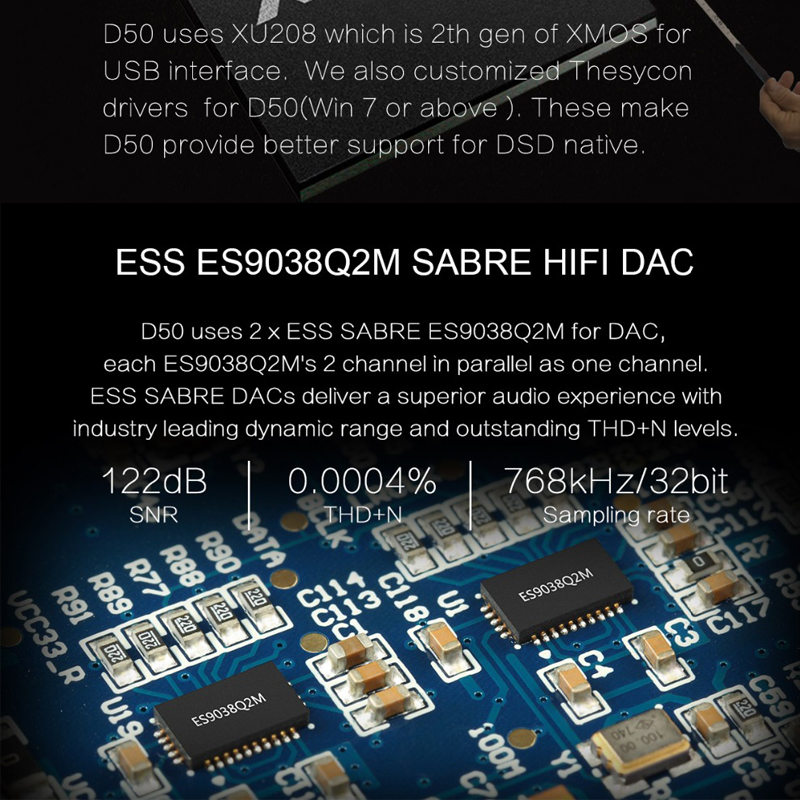 Topping D50 dac audio amp hifi amplifier audio decoder es9038q2m dsd
