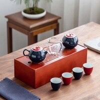Azul bule de cerâmica com 4 TANGPIN xícaras um conjuntos drinkware jogo de chá chá de viagem portátil Jogos de chá     -