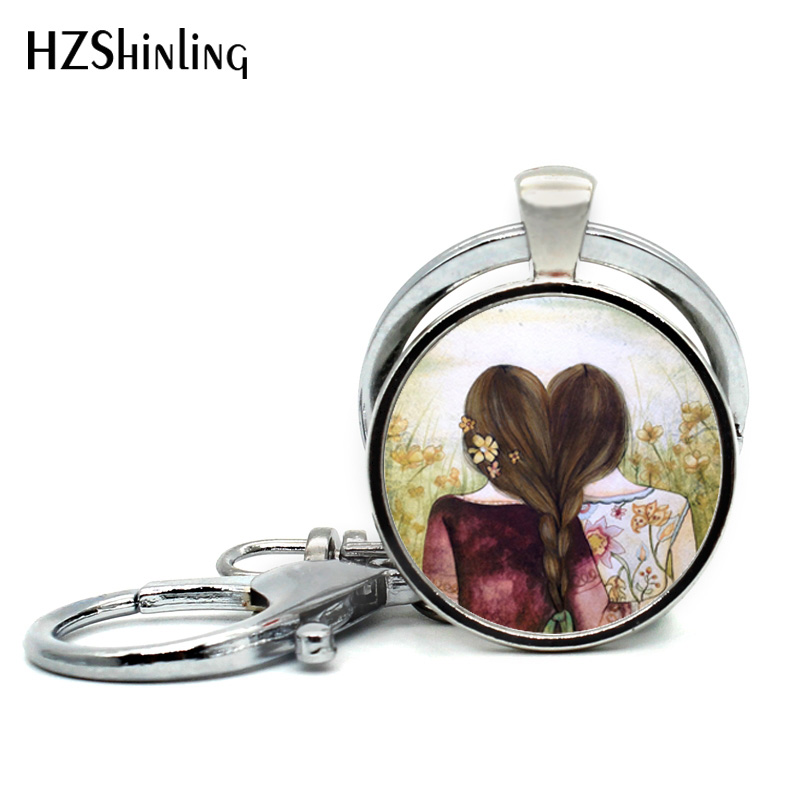 2018 New Arrival Three Sisters Best Friends Keychain Glass Cabochon Key chain Silver Friendship Keyring Silver Gifts for Friend все цены