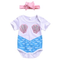 2019 Fashion Summer Newborn Girls Casual Cute Rompers With Headnand Short Sleeve Cartoon Print Jumpsuit 2019 New Fashion Romper