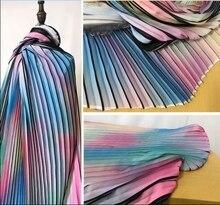 Digital printing rainbow seven-color pleated stripe Chiffon polyester fabric creative wedding dress textiles C193