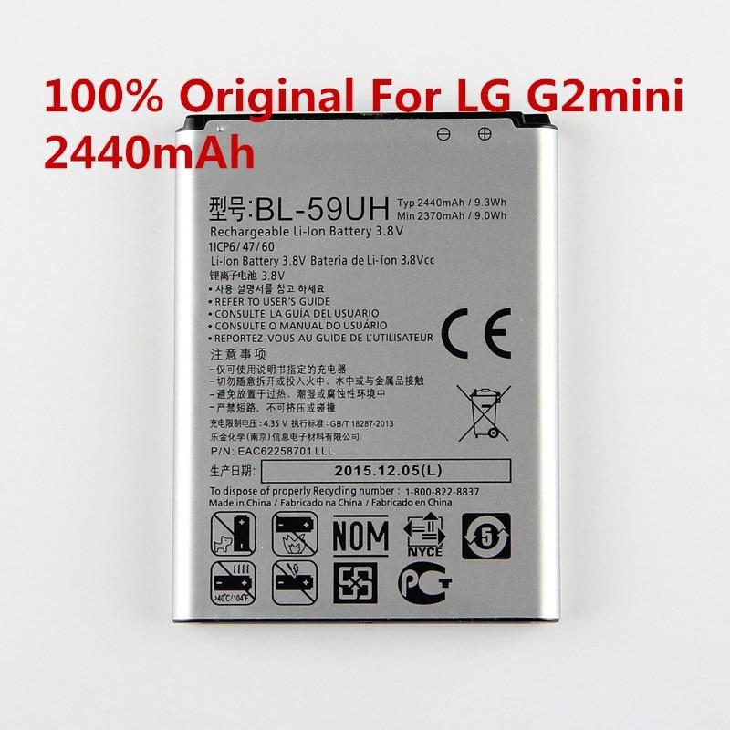 100% Original BL-59UH batterie BL59UH 2440 mAh G2mini LTE Batterie Für G2 mini D620 D620R D620K D618 D315 F70 D410 L65 D285