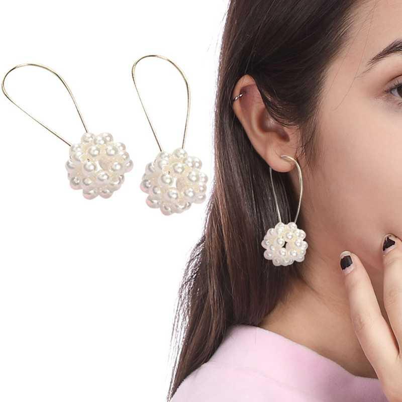 2018 Fashion Jewelry Women ball Earrings Double Pearl Stud Earrings For Women Set Girl Colorful