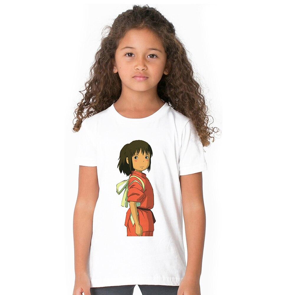 Spirited Away Kids Girl T Shirt Chihiro Ogino Children Girl T-shirt No Face Dragon Haku Toddler Tshirt Summer Cartoon Tops Tees