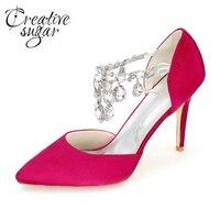 Creativesugar mujer de cristal del dedo del pie puntiagudo zapatos de boda del talón del hight fiesta nupcial prom bombas princesa blanco marfil champán púrpura
