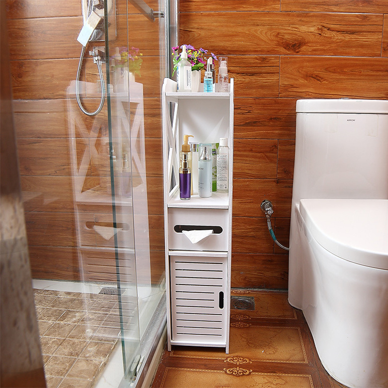 Floor Mounted Waterproof Toilet Side Cabinet PVC Bathroom Storage Rack Bedroom Kitchen Storage Shelves Home Bathroom Organizer