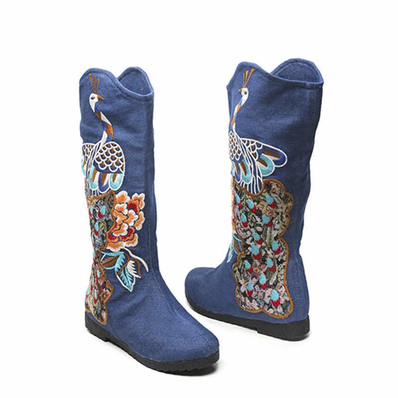 Mùa đông mùa xuân mùa thu đa mục đích tộc flower thêu cổ điển thời trang khởi động womens trượt-on knee chiều cao bông giày