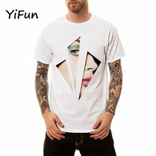 YiFun 2018 New Summer Men's O-neck Girl Face 3D Print T-shirt Boy Casual Short Sleeve Cotton Tee Plus Size S-4XL YM010