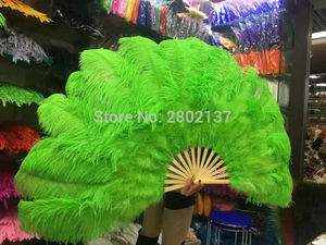 Image 3 - Big Ostrich Feathers Fan With Bamboo Staves for Belly Dance Halloween Party Ornament Decor Necessary, 13 bones