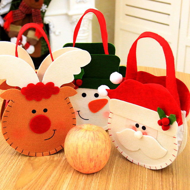 Christmas Candy Storage Bag Santa Claus Snowman Elk Xmas Candy Gift Bags Holders Home Decoration #252415