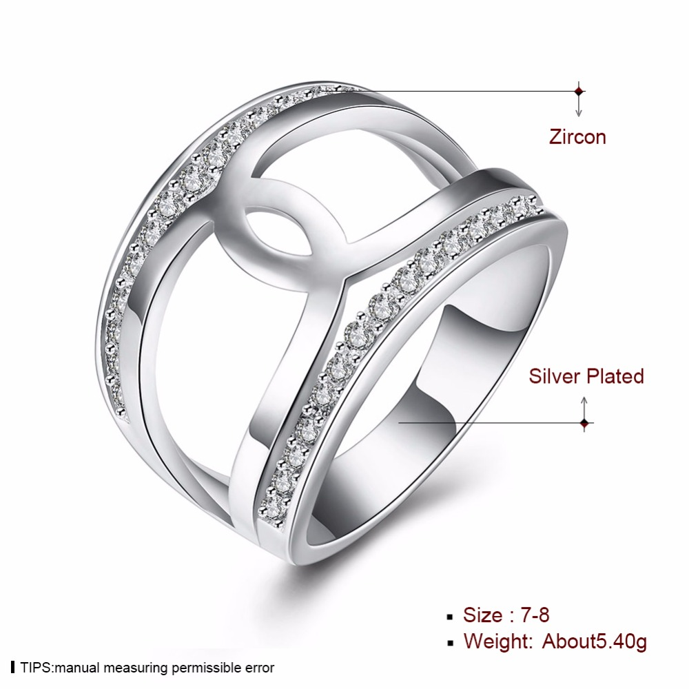 925 Fashion Silver plated Ring Jewelry,Europe and Russian style America Simple Cross Zircon Women Ladies Finger Rings